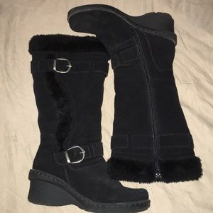 Black leather suede faux fur inside knee high boot